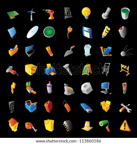 Icons for industry, tools, computers and technology. Black background. Vector illustration. - stock vector