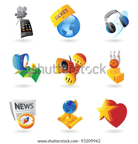 Icons for leisure, travel, sport and arts. Vector illustration. - stock vector