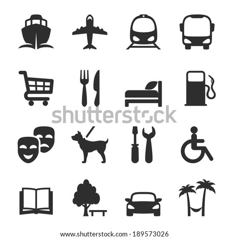 icons for locations and services: port  airport  bus  tram  shopping restaurant  hotel  gas station - stock vector