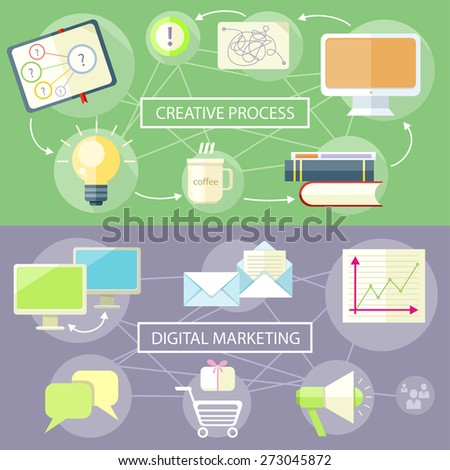 Icons for marketing item. Digital marketing concept. Flat design stylish megaphone with application icons. Creative process. Creative office item icons at desk - stock vector