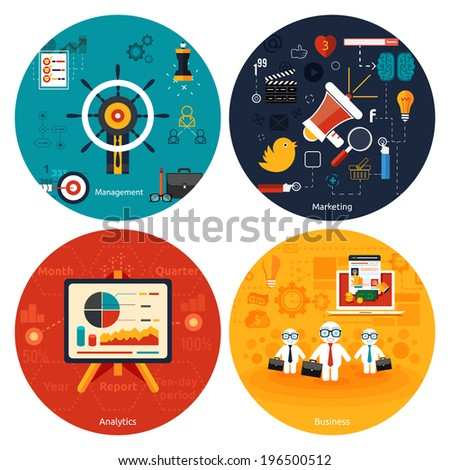 Icons for marketing, management, analytics and business tools - stock vector