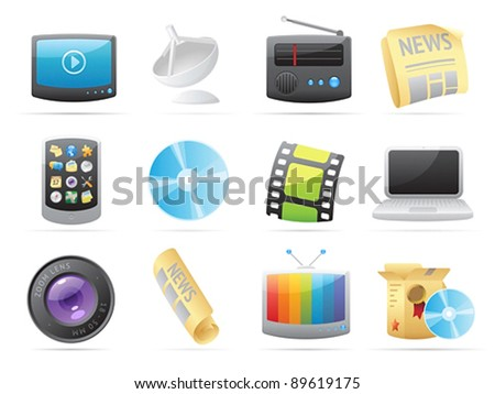 Icons for media. Vector illustration.