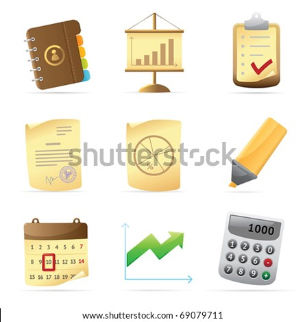 Icons for office and stationery. Vector illustration. - stock vector