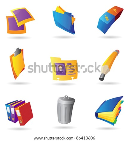 Icons for office. Vector illustration. - stock vector