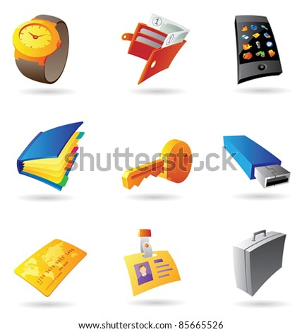Icons for personal items. Vector illustration. - stock vector