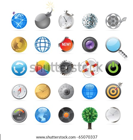 Icons for round objects and symbols. Vector illustration. - stock vector