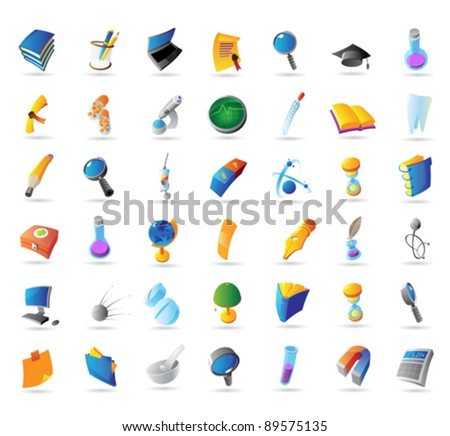 Icons for science, education and medicine. Vector illustration. - stock vector