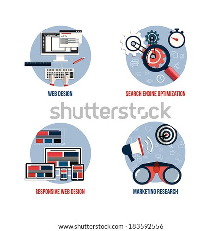 Icons for seo, web design, responsive web design and marketing research. Flat style. Vector - stock vector