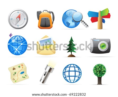 Icons for tourism and backpacking. Vector illustration. - stock vector