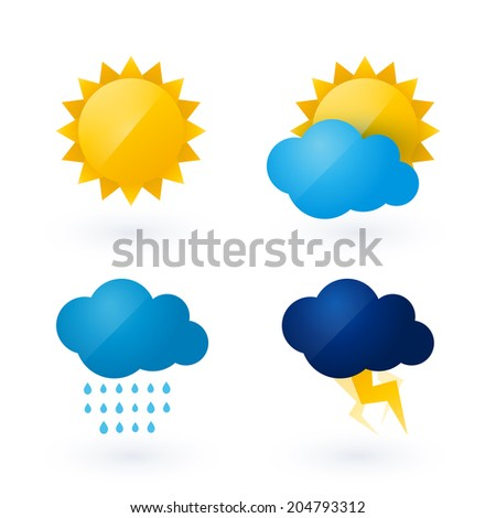 Icons for weather with sun and cloud motif - stock vector