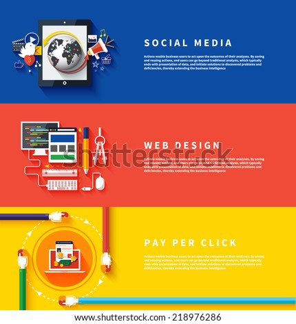 Icons for web design, seo, social media and pay per click internet advertising in flat design. Business, office and marketing items icons. - stock vector