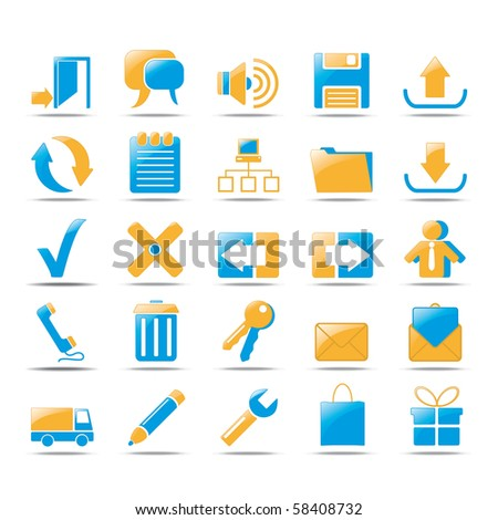 Icons for web in orange und blue style design. - stock vector