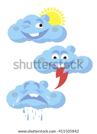 icons funny clouds the weather - stock vector