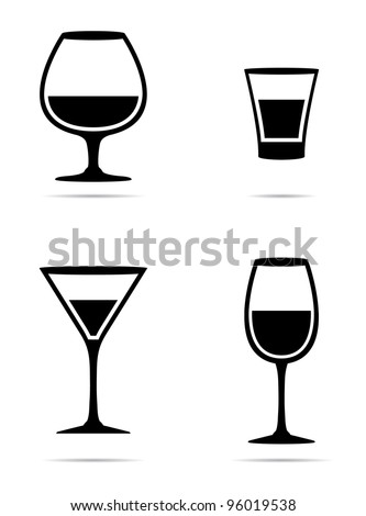 Icons glass Wine glasses,  brandy, whiskey and martinis silhouette on a white background - stock vector