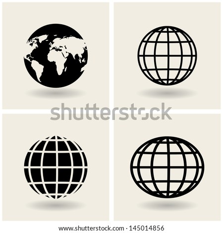 icons globes. vector. eps10 - stock vector
