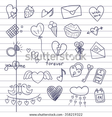 "Icons ""Happy Valentine's Day"". Sketch. Vector illustration on notebook background. Doodles"