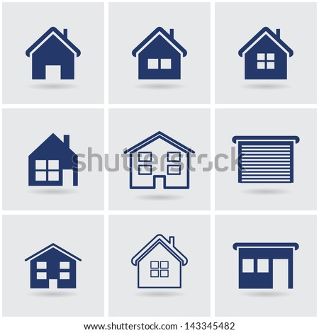 icons houses. vector set. eps10 - stock vector