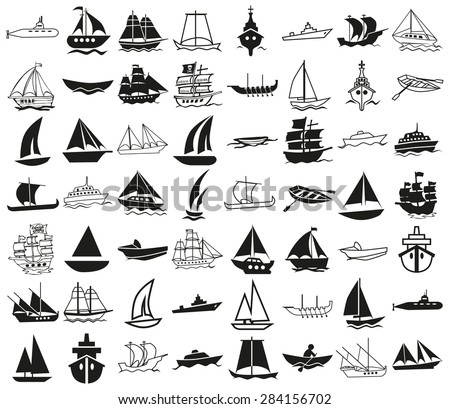 icons illustration black on a white background on the topic of ships - stock vector