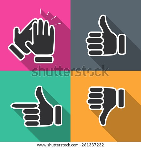 Icons in flat hand gestures vector illustration - stock vector