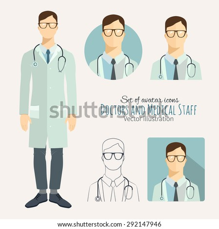 Icons in flat style. Doctors and medical staff. - stock vector