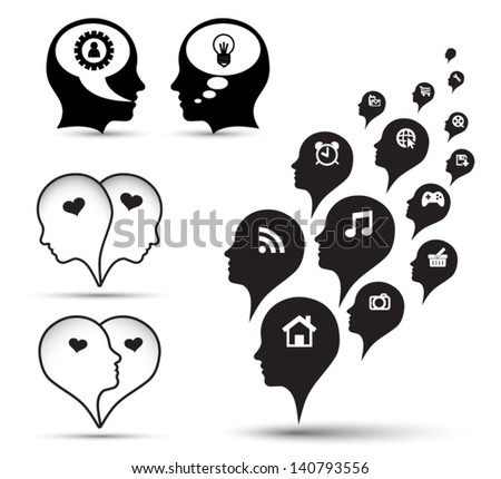 Icons  in human head collection. Vector illustration - stock vector