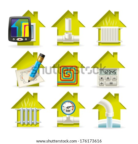 Icons installation of heating equipment for residential home - stock vector