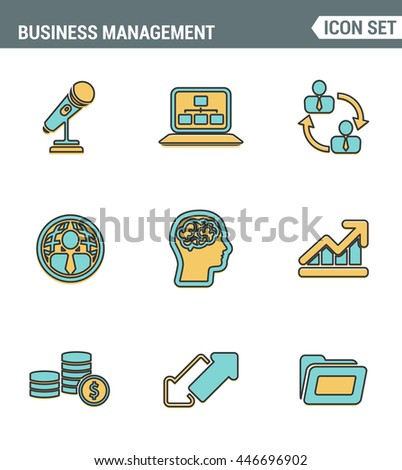 Icons line set premium quality of business people management, employee organization. Modern pictogram collection flat design style symbol . Isolated white background