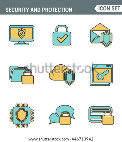Icons line set premium quality of cyber security, computer network protection. Modern pictogram collection flat design style symbol . Isolated white background - stock vector