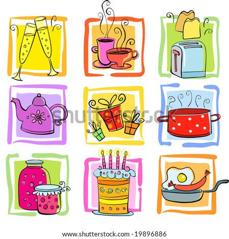 Icons Meal and ware - stock vector