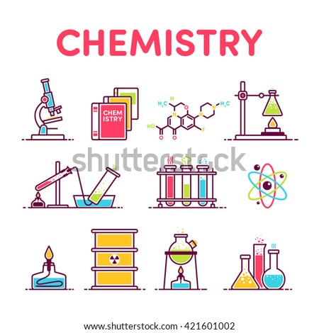 icons microscope, book, formula, flask, experiment, molecular, retort, test tube, barrel radiation, beakers - stock vector