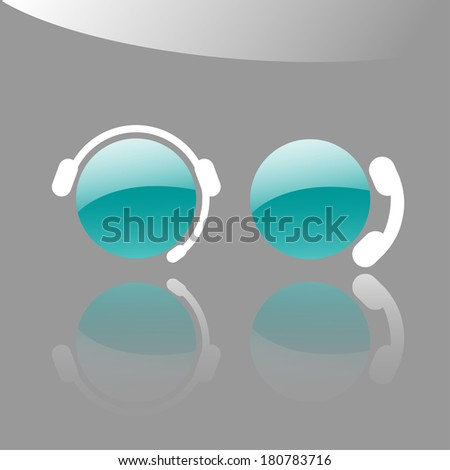 Icons of a client support operator and a customer making a phone call  - stock vector