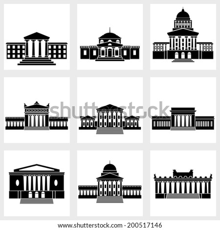 Icons of buildings with columns on a white background - stock vector