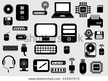 Icons of computer - stock vector