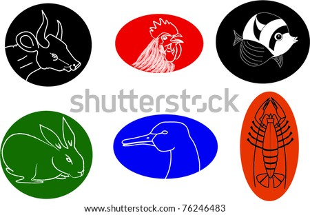 icons of different animals - stock vector
