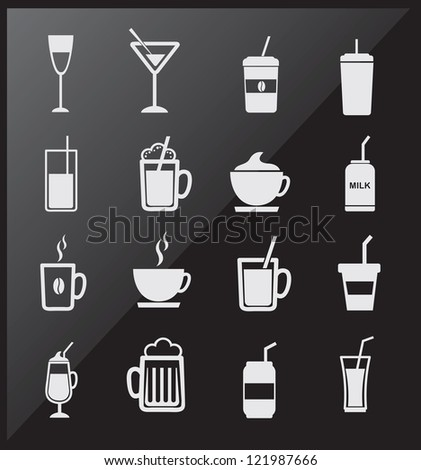 icons of drinks  over black background vector illustration - stock vector