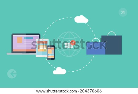 icons of e-commerce symbols, internet shopping elements and objects. Flat design, vector illustration - stock vector