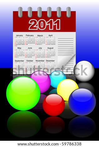Icons of glass spheres and paper calendar 2011 with reflection.  Vector. 10eps. - stock vector