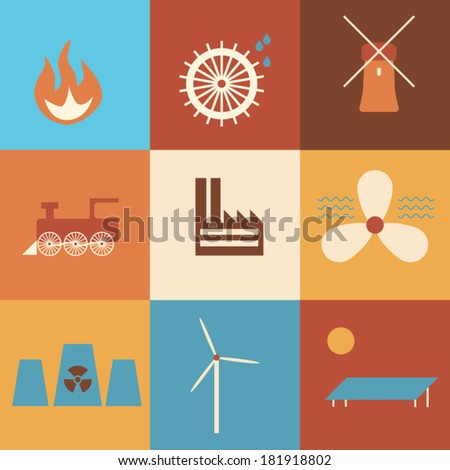 Icons of history of energy production in retro colors. Eps10 vector illustration - stock vector