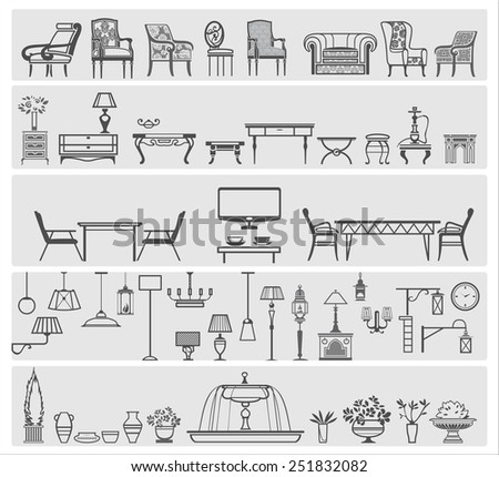 icons of interior elements and furniture, vector illustration
