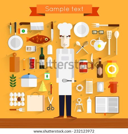 Icons of kitchen utensils with a chef. Cooking tools and kitchenware equipment, serve meals and food preparation elements. - stock vector