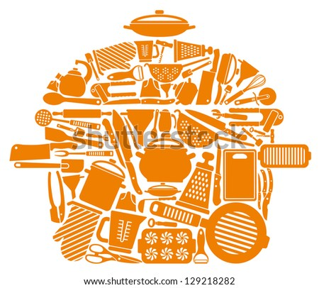 Icons of kitchen ware and utensils in the form of a pan - stock vector