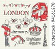 Icons of London set doodles drawing vector with bunting - stock vector