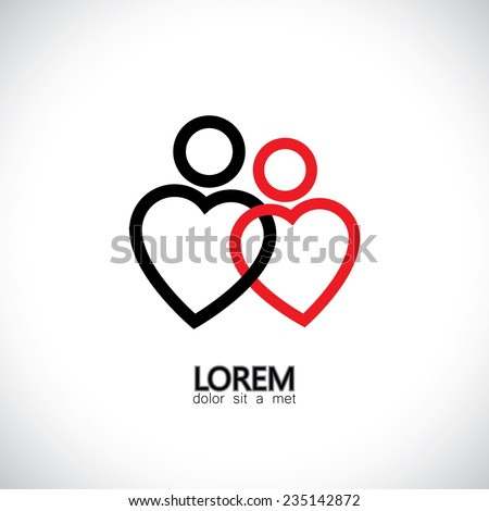icons of loving couple, soul mates, lovers - concept vector graphic. The graphic also represents girl & boy as 2 hearts together, bonding, platonic love, made for each other, valentines day - stock vector