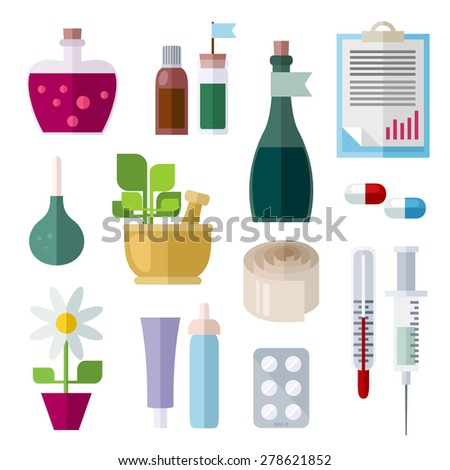 Icons of medicine theme. Different objects of traditional and folk medicine. Colorful modern vector flat icons set. Collection of elements and concepts for web and mobile apps. Vector file is EPS8.