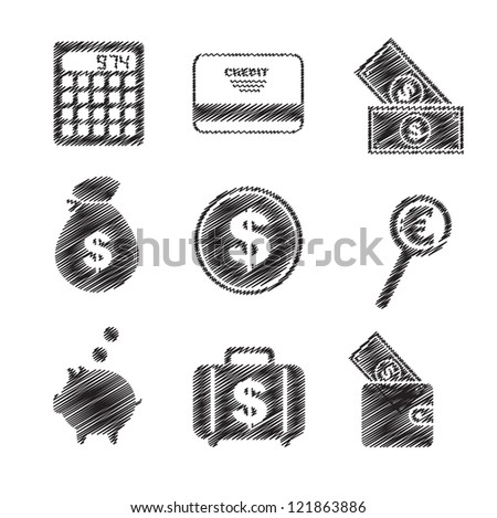 Icons of money and means of payment vector illustration - stock vector