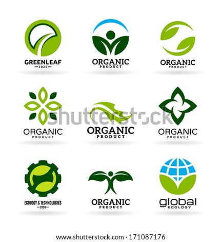 Icons of organic products and ecology. Eco icons (12) - stock vector