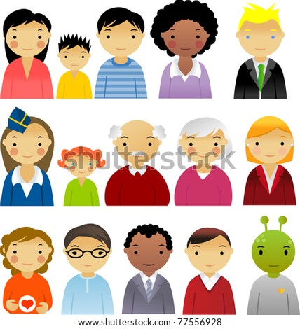 Icons Of People Isolated On White Background - stock vector