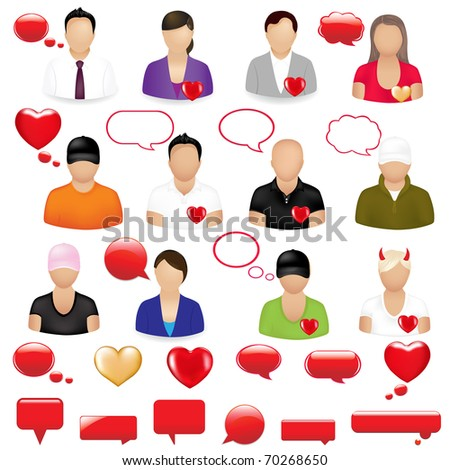 Icons Of People With Design Elements On  Theme Valentine's day, Isolated On White Background, Vector Illustration - stock vector