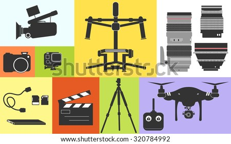 Icons of professional video and photo equipment including a camera action camera camcorder hard drive drone and lenses - stock vector