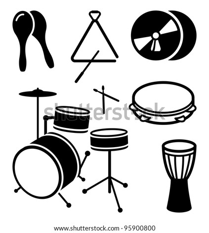 Icons of shock musical instruments - stock vector